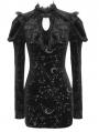 Black Gothic Moon Star Velvet Long Sleeve High-low Dress