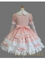 Pink and White Long Sleeves Bow Sweet Lolita Dress