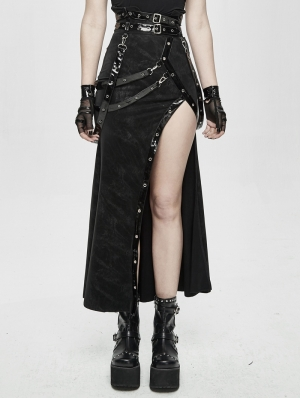 Black Sexy Gothic Punk High Split Long Skirt