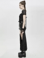 Black Sexy Gothic Punk High Split Long Skirt