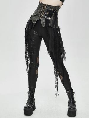 Black Gothic Punk Do Old Style Irregular Short Skirt
