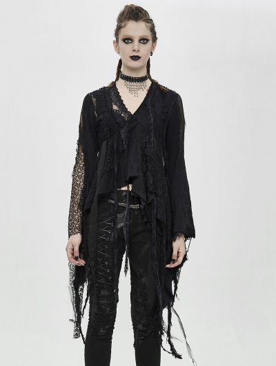 Black Gothic Grunge Punk Irregular Long Sleeve T-Shirt for Women