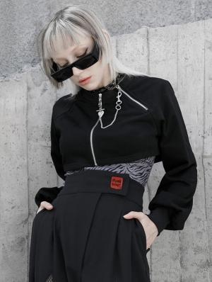 Black Street Fashion Gothic Punk Grunge Loose Mini Coat for Women