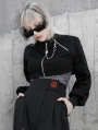 Black Street Fashion Gothic Punk Grunge Loose Mini Coat for Women