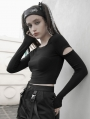 Black Gothic Grunge Irregular Long Sleeve Simple Short Casual T-Shirt for Women
