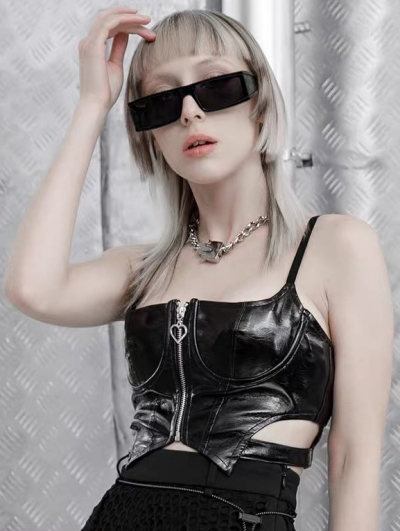 Black Street Fashion Gothic Punk Grunge PU Leather Vest Top for Women