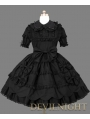 Black Short Sleeves Sweet Gothic Lolita Dress