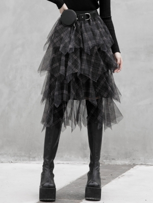 Black Plaid Street Fashion Gothic Grunge Long Daily Wear Skirt