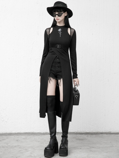 Black Street Fashion Gothic Grunge Hollowed-out Long Sleeve Daily Wear Dress