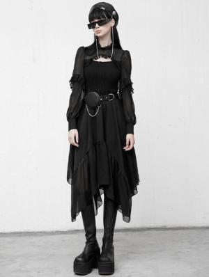 Black Gothic Grunge Chiffon Long Sleeve Irregular Daily Wear Dress