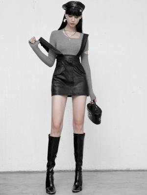 Black Gothic Grunge PU Leather Suspender Daily Wear Skirt