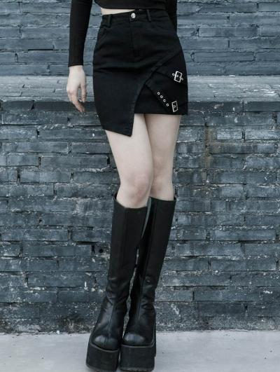 Black Street Fashion Gothic Punk Grunge Irregular Mini Skirt