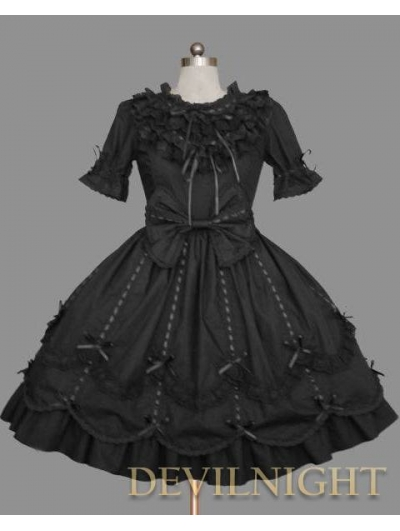 Black Short Sleeves Ribbon Bow Sweet Gothic Lolita Dress