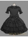 Black Short Sleeves Ribbon Bow Sweet Gothic Lolita Dress