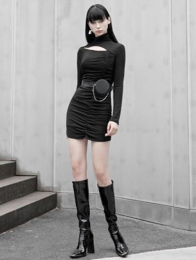 Black Sexy Gothic Hollowed-out Slim Mini Daily Wear Dress