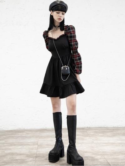 Black and Red Plaid Street Fashion Gothic Grunge Long Sleeve Short Dress