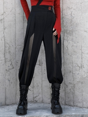 Black Women's Gothic Grunge Flared Long Daily Wear Trousers with Detachable Belt
