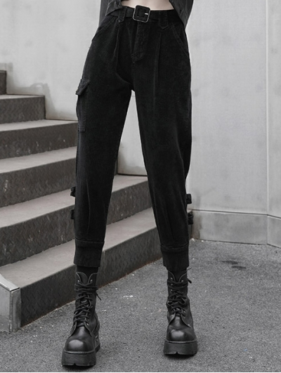 Black Women's Street Fashion Gothic Grunge Thick Long Pants with Adjustable Belt