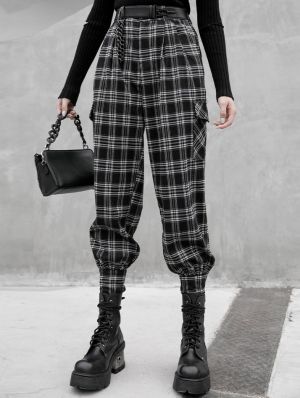 Black and White Plaid Gothic Grunge Long Daily Wear Pants for Women