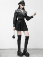 Black and White Street Fashion Gothic Grunge Long Sleeve Short Top for Women