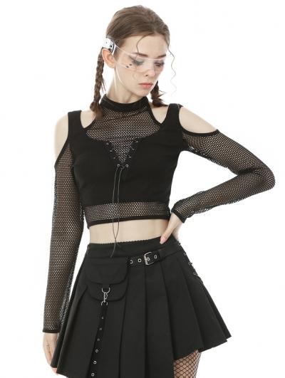 Black Gothic Grunge Net Long Sleeve Short Casual T-Shirt for Women