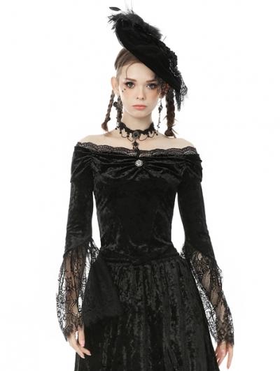 Black Vintage Gothic Victorian Off-the-Shoulder Velvet Lace Shirt for Women