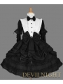 Black and White Long Detachable Sleeves Bow Gothic Lolita Dress