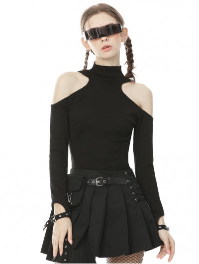 Black Gothic Punk Off-the-Shoulder Long Sleeve Daily Wear T-Shirt for Women