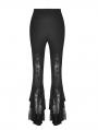 Black Elegant Gothic Lace Daily Wear Flared Legging for Women
