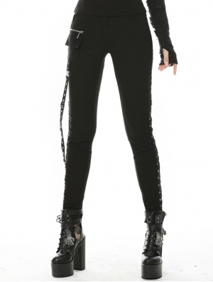 Black Gothic Punk Belt Daily Wear Long Trousers for Women