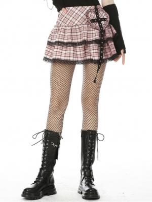 Pink Plaid Sweet Gothic Rock Heart Mini Skirt
