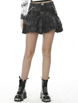 Dark Mysterious Forest Pattern Gothic Mini Skirt