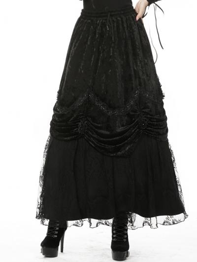Black Vintage Gothic Gorgeous Velvet Long Skirt