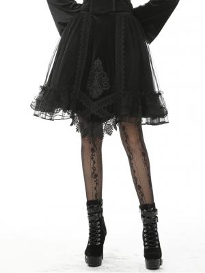 Black Vintage Gothic Velvet Mesh Short Skirt
