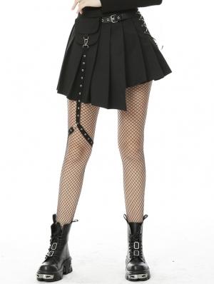 Black Gothic Punk Grunge Irreqular Pleated Short Skirt