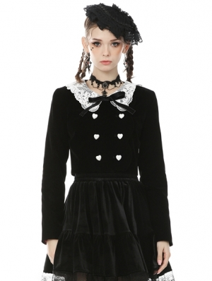 Black and White Retro Gothic Doll Collar Daily Wear Short Jacket for Women