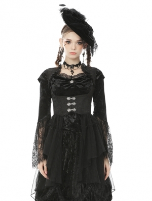 Black Retro Gothic Tail Waistcoat for Women