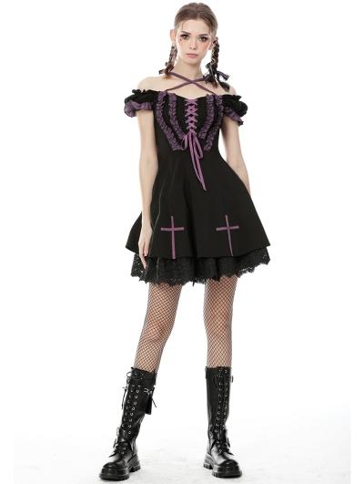 Black and Purple Gothic Lolita Off-the-Shoulder Cross Short Dress