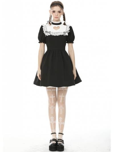 Black and White Sweet Gothic Hollowed-out Heart Short Dress
