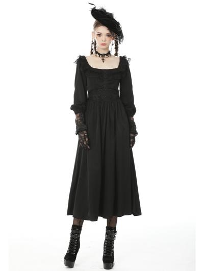 Black Vintage Elegant Gothic Lace Long Sleeve Daily Wear Maxi Dress
