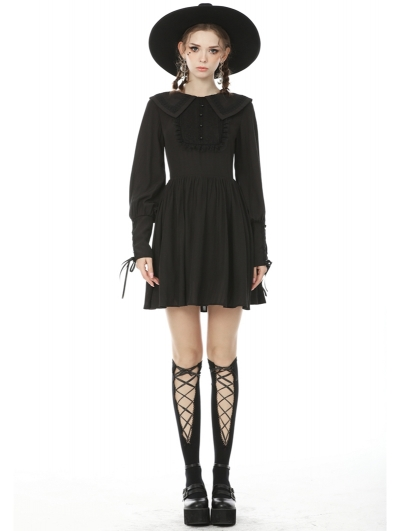 Black Sweet Gothic Long Lantern Sleeve Short Daily Wear Dress
