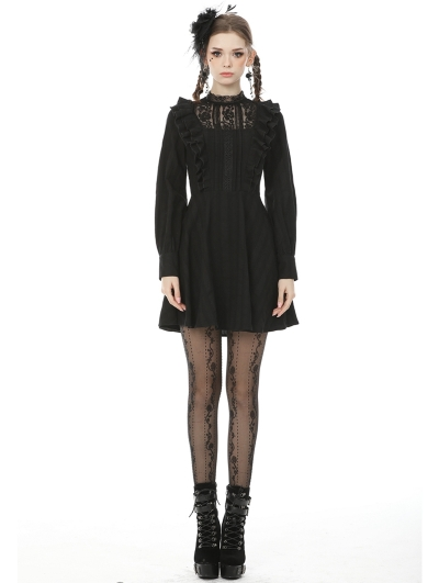 Black Gothic Lace Long Sleeve Short Daily Wear Dress