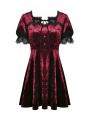 Wine Red Gothic Velvet Short Sleeve Daily Wear Dress