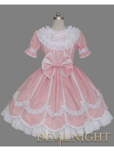Pink and White Short Sleeves Ribbon Bow Sweet Lolita Dress