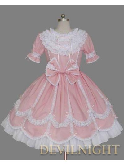 Pink and White Short Sleeves Ribbon Bow Sweet Lolita Dress