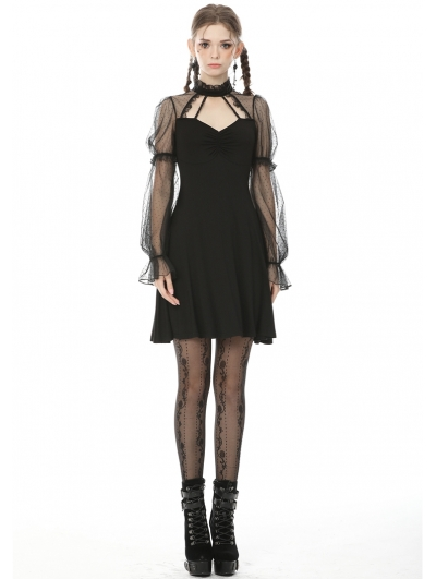 Black Fashion Gothic Long Dot Mesh Sleeves Short Daily Wear Dress