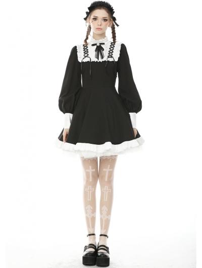 Black and White Sweet Gothic Rebel Doll Long Lantern Sleeve Short Dress