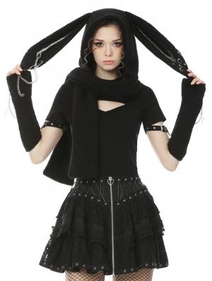 Black Gothic Punk Metal Rabbit Ears Scarf for Women