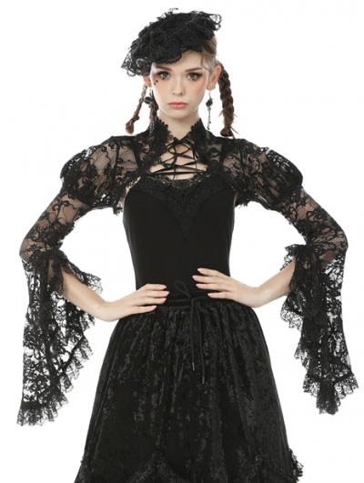 Black Vintage Gothic Tranparent Lace Long Trumpet Sleeve Cape for Women