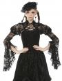 Black Vintage Gothic Tranparent Lace Long Trumpet Sleeve Cape for Women